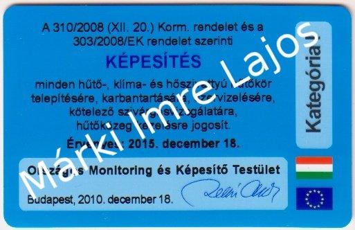 klímaszerelő kék kártya
