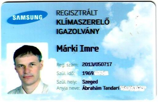 Samsung regisztrált klíma szerelő kártya
